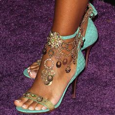 Mint green and gold jeweled chain ankle strap sandals