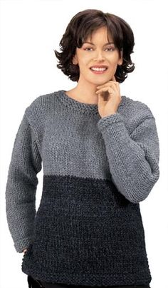 Knitted Two-Tone Tunic in Lion Brand Wool-Ease Thick & Quick - 1100. Discover more Patterns by Lion Brand at LoveKnitting. We stock patterns, yarn, needles and books from all of your favorite brands.