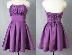 Custom New Purple Short  Satin Prom Dress Ruffle Evening Gown Formal Party Dress Lovely Homecoming Dress Bridesmaid Dress Quinceanera Dress