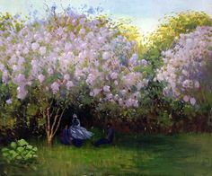 Monet - Resting Under the Lilacs ~~  Hand painted oil reproductions available at overstockArt.com