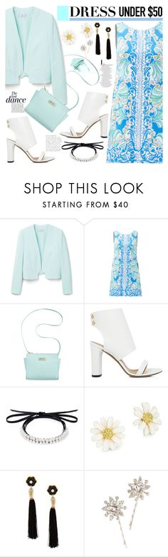 """""""No 378:Dress Under $50 (Top Set)"""" by lovepastel ❤ liked on Polyvore featuring MANGO, Lilly Pulitzer, Anja, Marc Fisher, IRO, Fallon, Kate Spade, Lizzie Fortunato, NARS Cosmetics and Jennifer Behr"""
