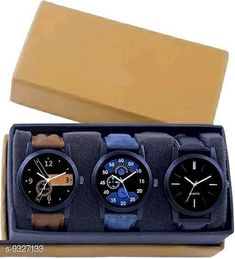 Watches Attractive Mens  Watches Strap Material: Leather Display Type: Analogue Size: Free Size Multipack: 3 Country of Origin: India Sizes Available: Free Size   Catalog Rating: ★4.1 (5433)  Catalog Name: Stylish Men Watches CatalogID_1630359 C65-SC1232 Code: 703-9327133-336