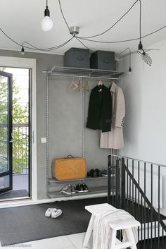 Industrial Scandinavian, Loft, Vestibule, Midcentury Modern, Mudroom, Wardrobe Rack, Sweet Home, Mid Century, Interior Design