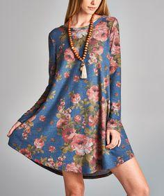 Denim Blue Floral Swing Dress