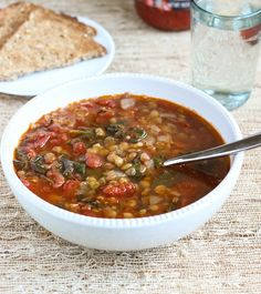 Easy Lentil Spinach Soup   from Making Thyme for Health