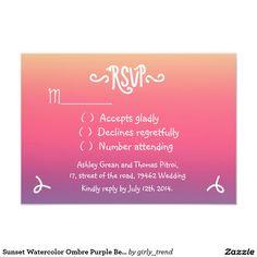 Sunset Watercolor Ombre Purple Beach RSVP Wedding 3.5x5 Paper Invitation Card
