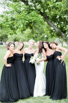 Elegant long black bridesmaid dresses @weddingchicks