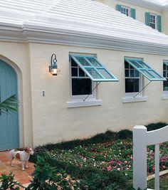 outdoor accessories in blue/green - bahama shutters, front door, coastal lantern