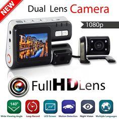 "2.0"" display i1000 dual lens dvr camera Full HD1080P Dash Cam Car DVR Dual lens DVR camera 140 degree Vehicle View Car Recorder"