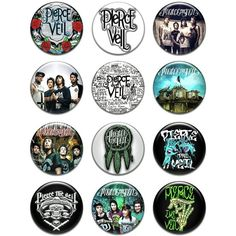 """Set of 12 New Pierce the Veil 1.25"""" Pinback Button Badge Pin ($25) ❤ liked on Polyvore featuring jewelry, brooches, accessories, buttons, pin brooch, pin jewelry, button brooch and button jewelry"""