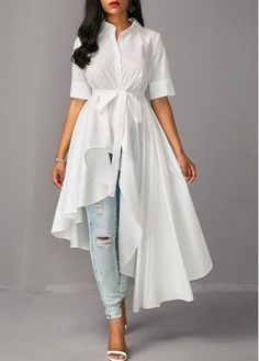 Asymmetric Hem Half Sleeve White Long Blouse, chic, fashion, white long shirt for fall, check it out Trendy Tops For Women, Blouses For Women, Clothes For Women In 20's, Fashion Trends 2018, Fashion News, Mode Hijab, Online Fashion Stores, Day Dresses, Blouse Designs