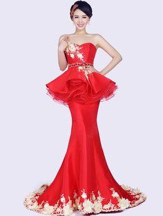 Red Brocade Mermaid Sweetheart Qipao / Cheongsam / Chinese Wedding Dress