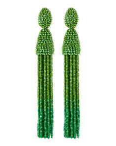 Oscar de la Renta Long Beaded Tassel Clip-On Earrings, Kelly Green - Bergdorf Goodman