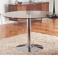 Click to zoom - Palermo dining table medium clear. 80 cms