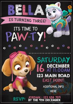 Paw Patrol Party Invitation Everest and Skye Paw Patrol Party Invitation Everest and Skye Girls Paw Patrol Cake, Girl Paw Patrol Party, Paw Patrol Birthday Theme, Skye Paw Patrol Cake, Sky E, 3rd Birthday Party For Girls, Birthday Ideas, Third Birthday, Diy Birthday