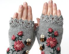 Knitting Patterns Gifts Hand Knitted Fingerless Gloves, Gloves & Mittens, Gift Ideas For Your Winter Accessories Crochet Gloves Pattern, Crochet Mittens, Hand Crochet, Hand Knitting, Knit Crochet, Knitting Patterns, Crocheted Lace, The Mitten, Knitting Accessories