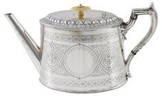 Oval Engraved English Tea Pot, C. 1875