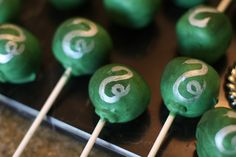 Harry Potter Inspired Slytherin Cake Pops