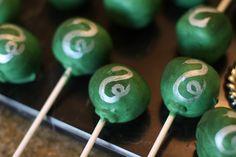 Harry Potter Inspired Slytherin Cake Pops