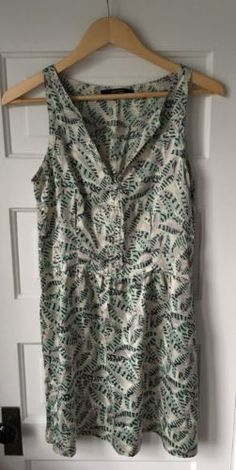 Sita-Murt-Dress-Sleeveless-Gray-Mint-Green-100-Silk-Feather-Print-Size-40-US-8