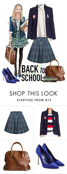 """Back to School girl"" by priscilla12 ❤ liked on Polyvore featuring Theory, Ralph Lauren, Hermès, Sergio Rossi, Hostess, BackToSchool, skirt, blazer and August"