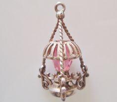 Grand argent Sterling charme de lampe rose cristal