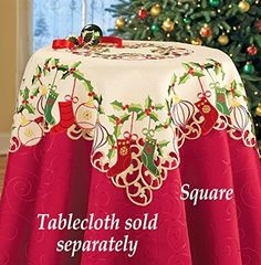 Green Red Christmas Stockings Ornaments Holly Embroidered Table Square