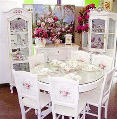 Shabby Chic Dining Room with Roses  a beautiful Cabinet to display your Tea Set collections.