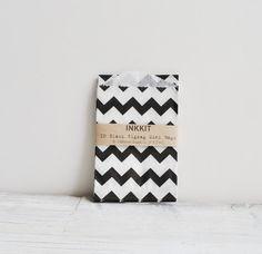 10 black and white chevron zig zag bitty bags by inkkit on Etsy, $ 3.00
