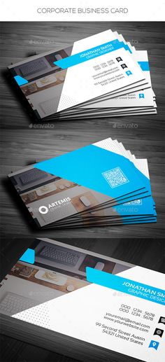 Corporate Business Card by Dkgray Corporate business card made for companies or personal use. FEATURES CMYK Color Print ready Horizontal in wit Printable Business Cards, Blank Business Cards, King Card, Sales Kit, Construction Business Cards, Card Companies, Layout, Geometric Logo, Flyer