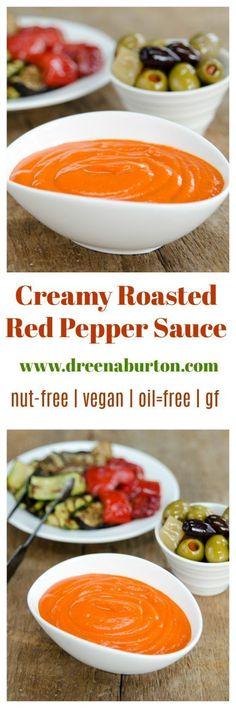 Creamy Roasted Red Pepper Dip (nut-free, vegan, gf, oil-free) | vegan dip recipes | vegan sauce recipes | healthy dip recipes | vegan red pepper recipes | nut-free dip recipes | oil-free dip recipes | gluten free dip recipes | vegan appetizer recipes || Plant Powered Kitchen