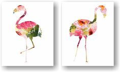 Watercolor Floral Flamingo Pink and Faux Gold Foil Kitsch Art Unframed Prints (Set of 2). Watercolor Floral Flamingo Art Print Set of 2. A modern take on the kitsch flamingo. Hang it in your bedroom or home office. Unframed Prints / Not Canvas The gold/ watercolor in the print is not real gold foil or gold leaf, it's a printed image with a matte finish. 5x7, 11x14 & 12x16 sizes have a small border for easy framing with a mat 8X10 artwork is printed on a 8.5x11 inch sheet for easy framing...