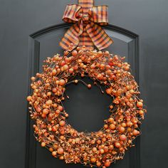 Fall Wreath - Halloween Wreath - Berry Wreath.