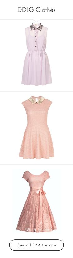 """""""DDLG Clothes"""" by wolfpriestess ❤ liked on Polyvore featuring dresses, vestidos, pink dress, lilac dress, pink, short dresses, river island, pink mini dress, reversible dresses and skater dresses"""