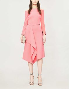 ROLAND MOURET - Clover asymmetric wool-crepe dress | Selfridges.com