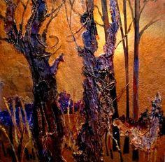 """Golden Season 12077, mixed media tree collage  © Carol Nelson Fine Art"" - Original Fine Art for Sale - © Carol Nelson"