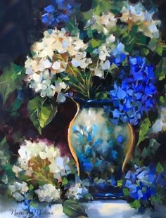 Blue Ascent Hydrangeas by Texas Flower Artist Nancy Medina, painting by artist Nancy Medina