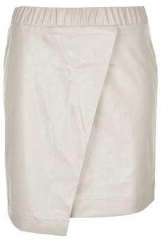 b14cd32b798 Petite Leather Look Wrap Skirt