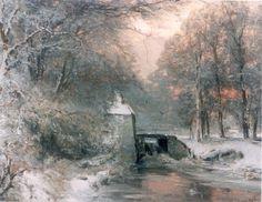 Lodewijk Franciscus Hendrik 'Louis' Apol (Den Haag 1850-1936) Avondstemming in het besneeuwde bos - Kunsthandel Simonis en Buunk, Ede (Nederland).