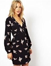 ASOS Wrap Tulip Dress In Pretty Bird Print