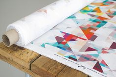 Colourful Geometric Print Linen Fabric Northmore by Rachel Parker for FlockStudio