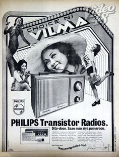 Vilma Santos in one of her early commercials endorsing Philips transistor radios in Old Advertisements, Advertising, Radios, Transistor Radio, I Gen, Old Ads, Classic Image, Vintage Ads, Nostalgia