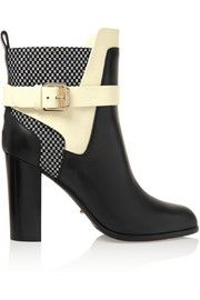 Sergio RossiWoven-paneled leather boots