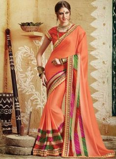 Orange Embroidery Work Bandhani Print Georgette Party Wear Sarees http://www.angelnx.com/Sarees/Party-Wear-Sarees