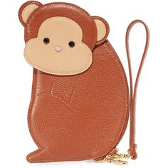 Patricia Chang Monkey Wristlet ($175) ❤ liked on Polyvore featuring bags, handbags, clutches, brown leather wristlet, brown purse, leather wristlet, leather handbags and wristlet handbags