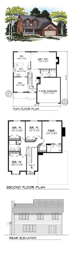CapeCod Style COOL House Plan ID: chp-23316 | Total Living Area: 2073 sq. ft., 4 bedrooms and 2.5 bathrooms. #houseplan #capecod