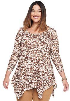 d8bcaabec7a Jessica London Women s Plus Size Handkerchief Hem Tunic - Brown Cheetah