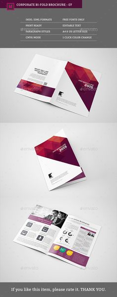Corporate Bifold Brochure Template Template Brochures And - Bi fold brochure template indesign