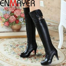 ENMAYER New Winter Fashion Free Shipping Ladies' Boots Over The Knee Women's Boots Sexy Natural Real Genuine Long Boots(China (Mainland))