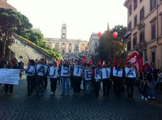 CGIL, Italy's largest labor union, protests in downtown Rome against austerity measures imposed by the Monti government and the European Union. 14 November 2012.